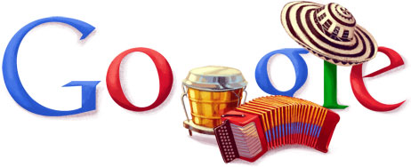 Google Logo: 2011 Festival Vallenato - Most important musical festival in Colombia with among others its accordion contest. Take place in Valledupar, Department of Cesar.